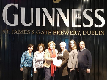 The IFDH board and ISDH Chair Barbara at the Guinness Storehouse