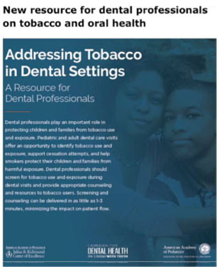 Addressing Tobacco in Dental Settings - A Resource for Dental Professionals
